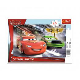 Trefl - Puzzle z ramką Cars Auta - Wyścig po puchar 15 el. - 31230