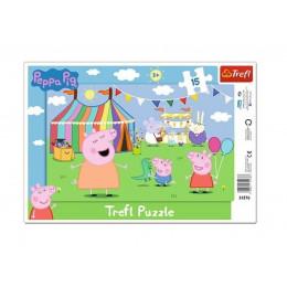 Trefl - Puzzle z ramką Świnka Peppa - W wesołym miasteczku 15 el. - 31276
