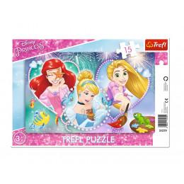 Trefl - Puzzle z ramką Disney Princess - Trzy uśmiechnięte księżniczki 15 el. - 31279