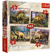 Trefl - Puzzle 4w1 - Dinozaury - 34249