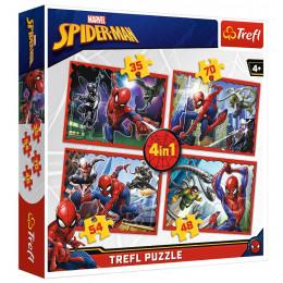 Trefl - Puzzle 4w1 - W sieci Spider-Mana – 34293