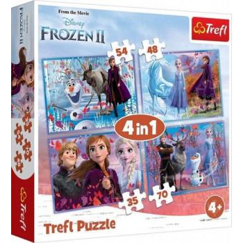 Trefl - Puzzle 4w1 - Kraina Lodu - Podróż w nieznane - 34323