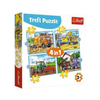 Trefl – Puzzle 4w1 – Pojazdy i maszyny – 34353