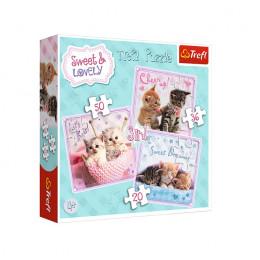 Trefl - Puzzle 3w1 Sweet&Lovely - Słodkie kotki - 34809
