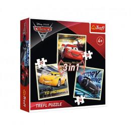 Trefl - Puzzle 3w1 Auta 3 Cars - Legendy wyścigu - 34820