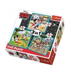 Trefl - Puzzle 3w1 Myszka Miki - Z przyjaciółmi - 34846