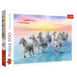 Trefl - Puzzle 500 el. - Białe konie w galopie - 37289