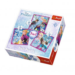 Trefl - Puzzle 3w1 Kraina Lodu Frozen - Zimowa magia - 34832