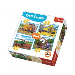 Trefl 34298 Puzzle 4w1 Duże maszyny budowlane