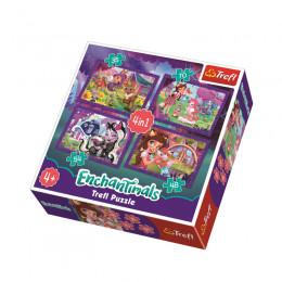 Trefl 34305 Puzzle 4w1 Zabawa z Pupplami Enchantim