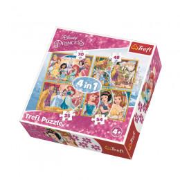 Trefl 34309 Puzzle 4w1 Radosny dzień Księżniczek