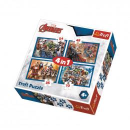 Trefl 34310 Puzzle 4w1 Nieustraszeni Avengers