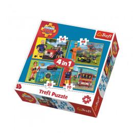 Trefl 34311 Puzzle 4w1 Strażak Sam i przyjaciele