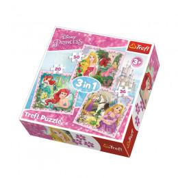 Trefl 34842 Puzzle 3w1 Księżniczki Disney'a