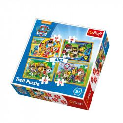 Trefl - Puzzle 4w1 - Psi Patrol - Zawsze na Czas - 34307