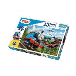 Trefl Baby - Puzzle Maxi 15el. - Pędzące lokomotywy - 14283