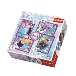 Trefl - Puzzle 4w1 - Kraina Lodu - Zimowe Szaleństwo - 34294