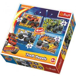 Trefl - Puzzle 4w1 - Blaze i Przyjaciele - 34267
