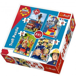 Trefl - Puzzle 4w1 - Strażak Sam - Drużyna Sama - 34269