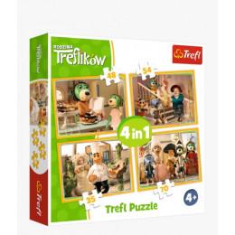 Trefl -  Puzzle 4w1 Przygotowania do balu Treflików - 34318