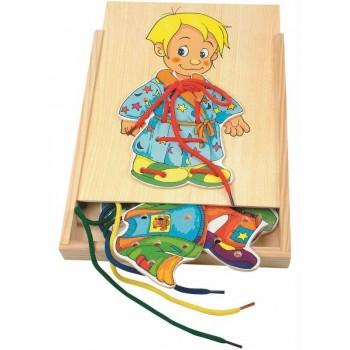 Woodyland 90018 Drewniany Chłopiec Ubieranka Przeplatanka