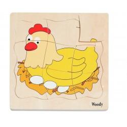 Woodyland 90073 Puzzle drewniane -  Narodziny Kurczątka
