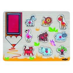 Woodyland 91185 Pieczątki Puzzle Zwierzęta Afrykańskie