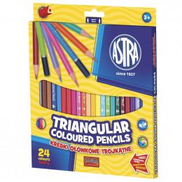 Astra - Kredki Ołówkowe Trójkątne 24 kolory - 0450