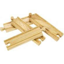 Zestaw 4 torów prostych średnich do kolejek drewnianych BigJigs BJT101