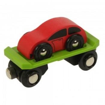 Wagon Laweta z Samochodzikiem do kolejek drewnianych BigJigs BJT442