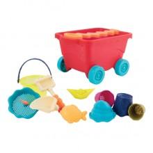 B.TOYS - Czerwony wózek z akcesoriami plażowymi - BX1594