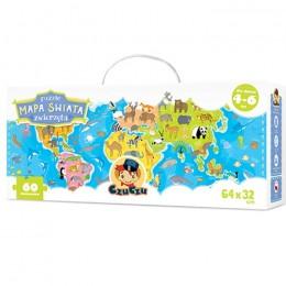CzuCzu 5749108 Puzzle Mapa Świata - Zwierzęta
