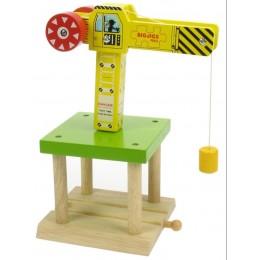 Żółty Dźwig do kolejek drewnianych BigJigs BJT175