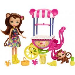 Enchantimals FCG93 Lalka Merit Monkey z małpką + wózek z owocami