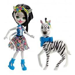 Enchantimals FKY75 Lalka Zelena Zebra i zwierzątko - Hoofette