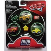Cars Mini Racers - Zestaw trzech mini autek - Świecące w ciemności FPT78