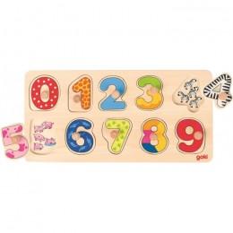 GOKI 57480 Drewniane Puzzle z uchwytami - Cyferki