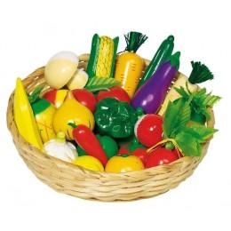 GOKI 51660 Kosz z Drewnianymi Warzywami i Owocami