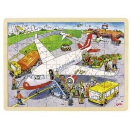 GOKI 57544 Puzzle Drewniane Lotnisko Samolot 96 Elementów