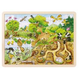 GOKI 57582 Puzzle Drewniane Natura Las 96 Elementów