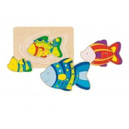 GOKI 57897 Puzzle Warstwowe Układanka Rybki