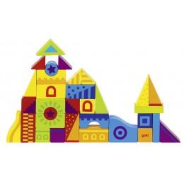 GOKI 58573 Klocki Drewniane Mozaika Zamek 40 Elementów