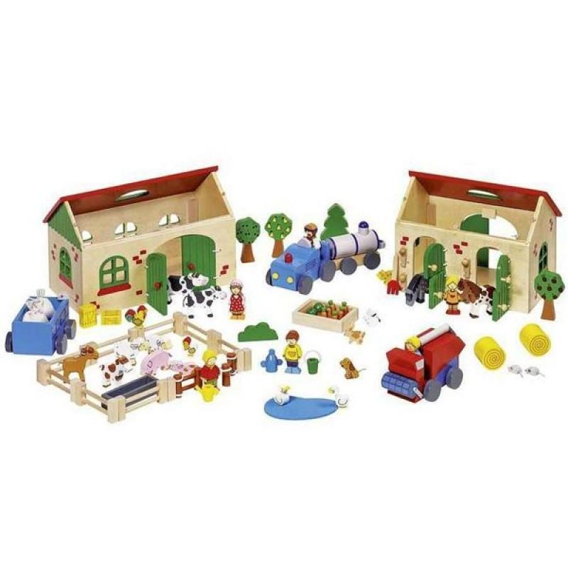 Goki 58598 moja drewniana farma figurki sklep zabawkowy for Les trois suisses meubles