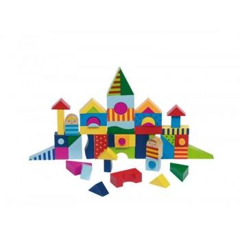 GOKI 58964 Klocki Drewniane Mozaika Zamek 57 elementów