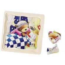 GOKI Drewniane puzzle warstwowe - Misie 57583