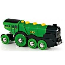 BRIO Lokomotywa na Baterię Zielona do kolejek drewnianych 33593