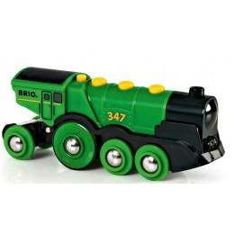 BRIO 33593 Lokomotywa na Baterię Zielona do kolejek drewnianych