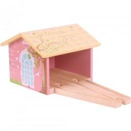 BJT238 Kolejka Drewniana - Domek dla różowego pociągu