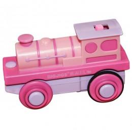 BJT305 Kolejka drewniana - Różowa lokomotywa na baterie