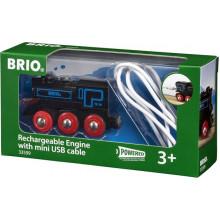 BRIO Czarna lokomotywa z baterią i mini USB 33599